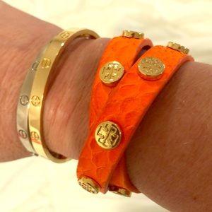 Orange leather Tory Burch bracelet double wrap
